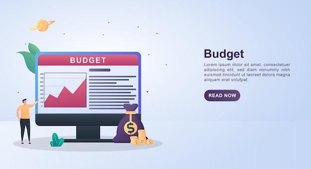 Illustratie concept van begroting met geldzakken en munten. Premium Vector