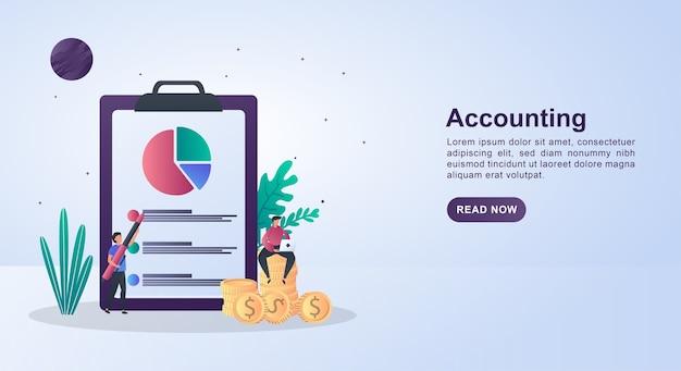 Illustratie concept van boekhouding met een persoon die op een muntstuk zit met een pen. Premium Vector