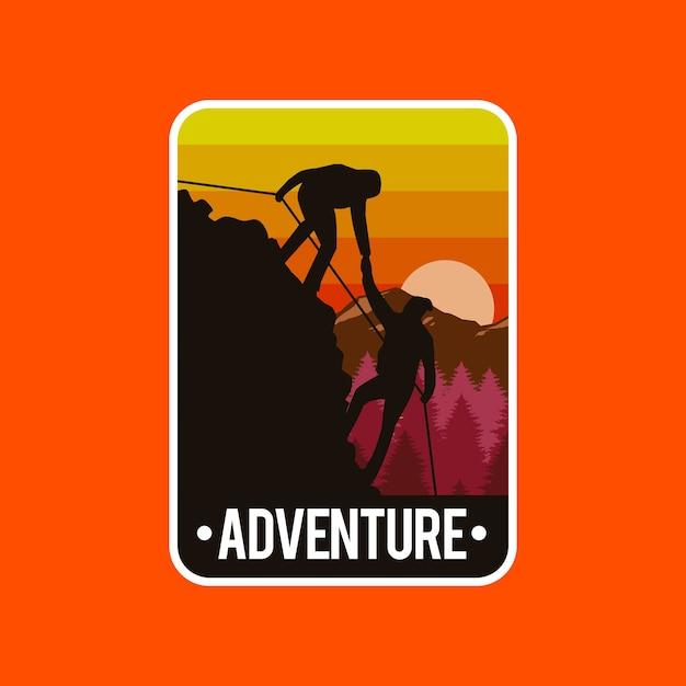 Illustratie concept van mensen beklimmen bergen Premium Vector