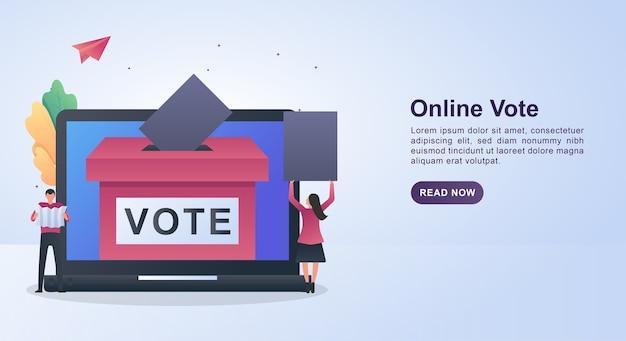 Illustratie concept van online stemmen met de persoon die het papier houdt om te stemmen. Premium Vector