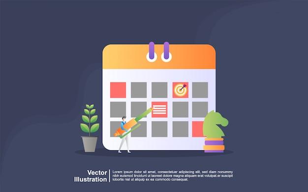 Illustratie concept van planning. mensen maken een planning van planningsbeheer, bedrijfsplanning, takenlijst. kan gebruiken voor, bestemmingspagina, sjabloon, ui, web, mobiele app, banner Premium Vector