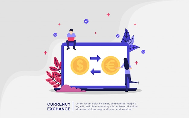 Illustratie concept van valuta-uitwisseling met kleine mensen Premium Vector