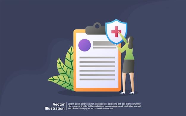 Illustratie concept van ziektekostenverzekering. idee van veiligheid en bescherming van eigendom en leven tegen schade. Premium Vector
