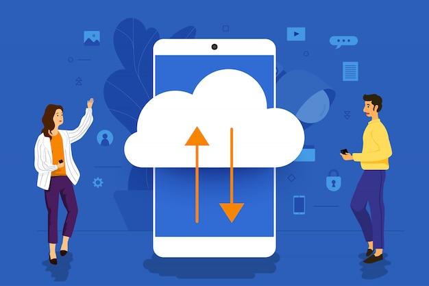 Illustratie concept zakenman werken aan mobiele applicatie samen bouwen van cloud-technologie. illustreren. Premium Vector