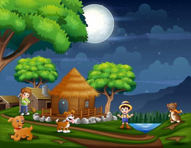 Illustratie de boer in de landbouwgrond 's nachts Premium Vector