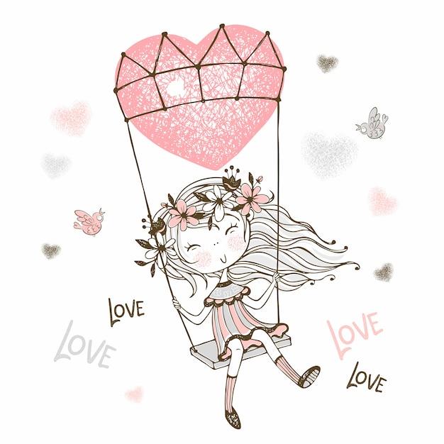 Illustratie die van leuk meisje op een ballon in de vorm van een hart vliegt. Premium Vector