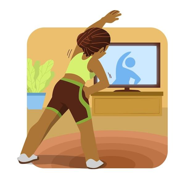 Illustratie die van vrouw sport van tv doet Gratis Vector