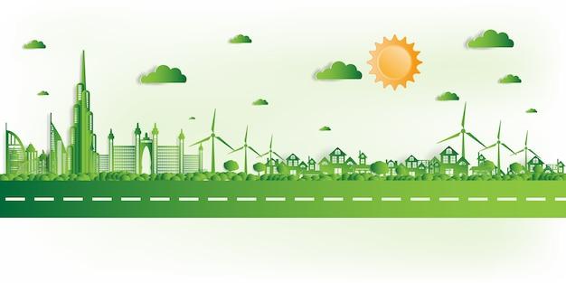 Illustratie. eco-vriendelijke, groene stad redt de wereld, Premium Vector
