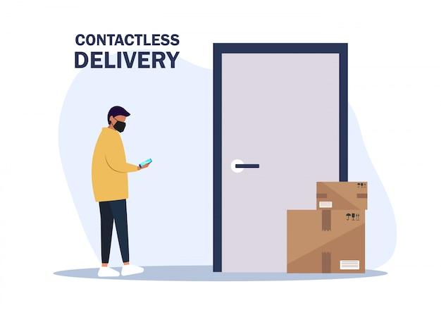 Illustratie geen contact levering. deliver man brengt de dozen en zet ze bij de deur van het appartement. contactloze koeriersdienst. zelfisolatie en quarantaine levensstijl Premium Vector