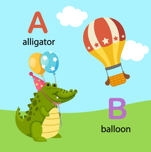 Illustratie geïsoleerde alfabet letter a-alligator, b-ballon Premium Vector