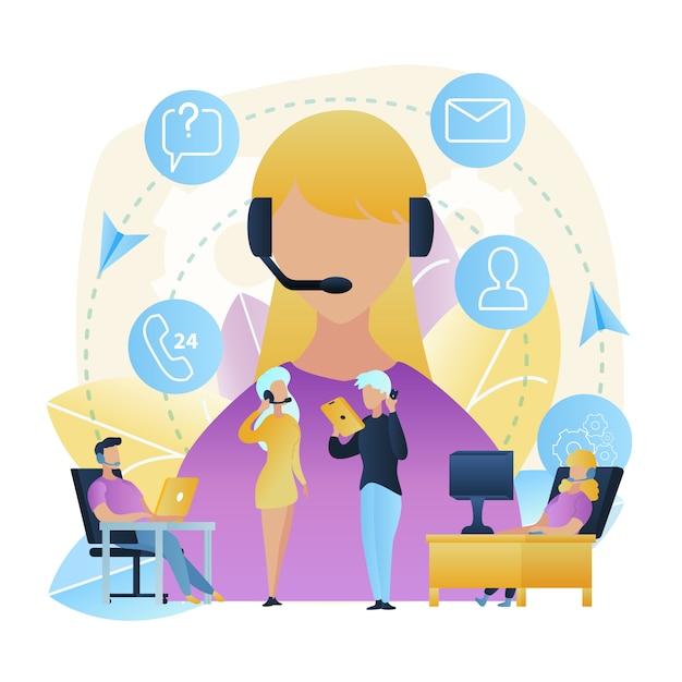 Illustratie groepsmensen call center werkplaats Premium Vector