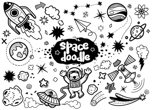 Illustratie, hand getrokken ruimte-elementen. Premium Vector