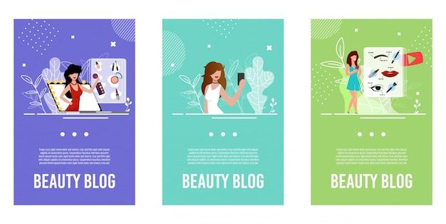 Illustratie instellen voor schoonheidsbloggers Premium Vector