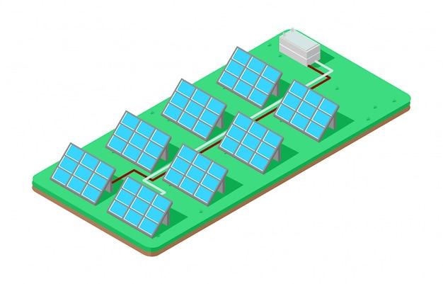 Illustratie isometrische paneel zonne-energie Premium Vector