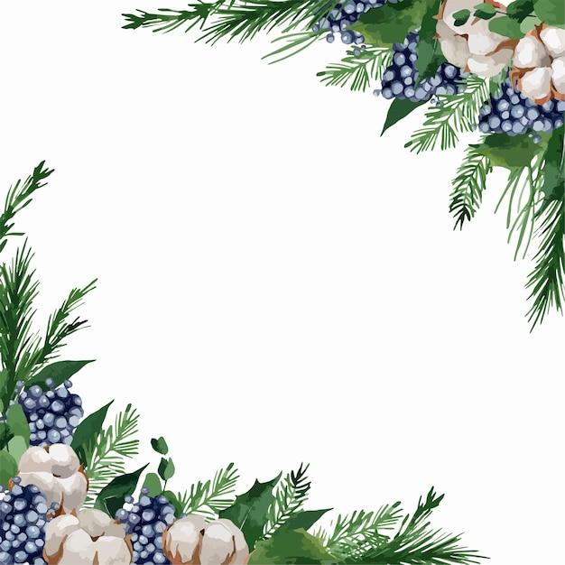 Illustratie, kerstmisgrenzen met dennentakken, bessen en katoen Premium Vector