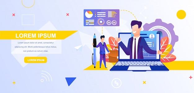 Illustratie man kijken naar een online zakelijke blog Premium Vector