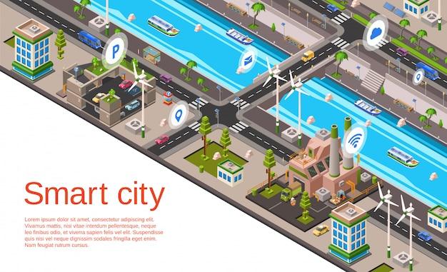 Illustratie met 3d gebouwen, straatwegen met autonavigatiesysteem Gratis Vector