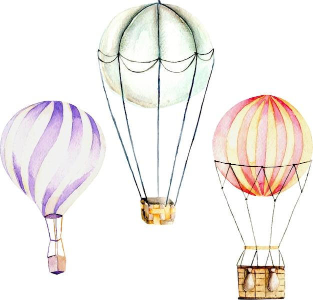 Illustratie met aquarel hete lucht ballonnen Premium Vector