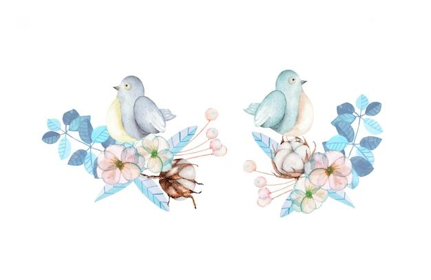 Illustratie met aquarel schattige vogel en blauwe planten Premium Vector