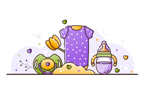 Illustratie met babyaccessoires Premium Vector
