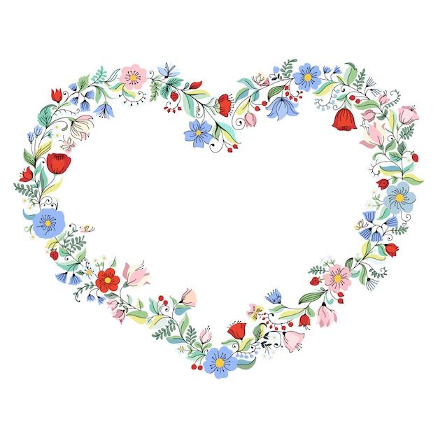 Illustratie met bloemhart. Premium Vector