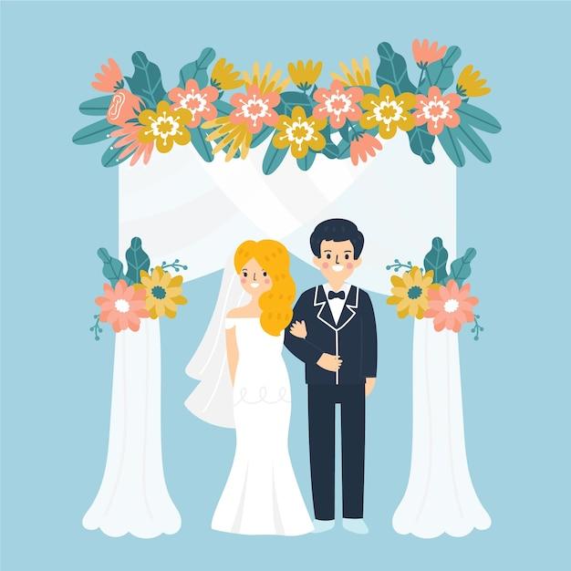 Illustratie met bruid en bruidegom Gratis Vector