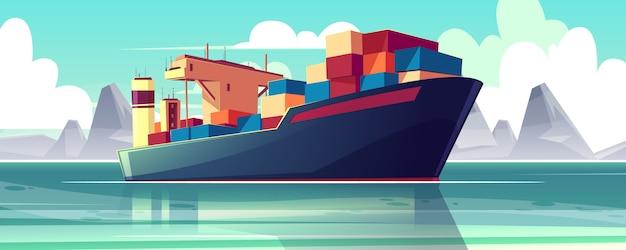 Illustratie met een droogvrachtschip op zee, oceaan. commerce verzending, levering van goederen. Gratis Vector