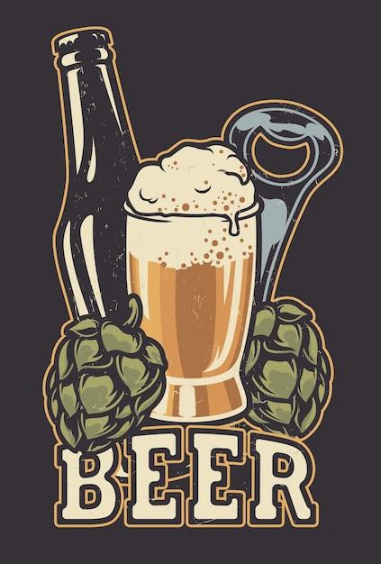 Illustratie met een flesje bier en hopbellen. alle items zijn in aparte groepen. Premium Vector