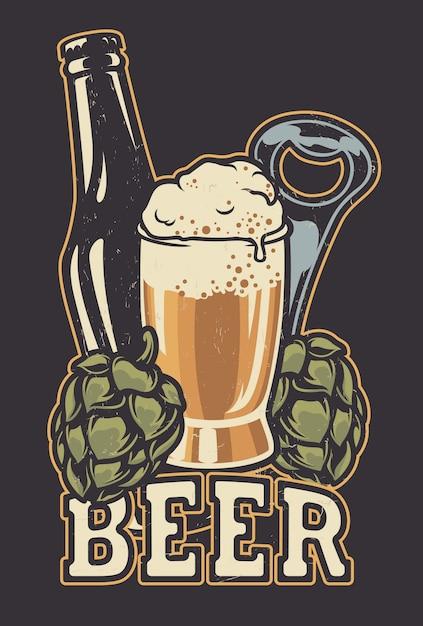Illustratie met een flesje bier en hopbellen. Premium Vector
