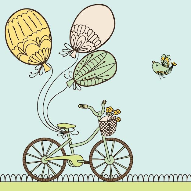 Illustratie met fiets, ballonnen en plaats voor uw tekst. Premium Vector