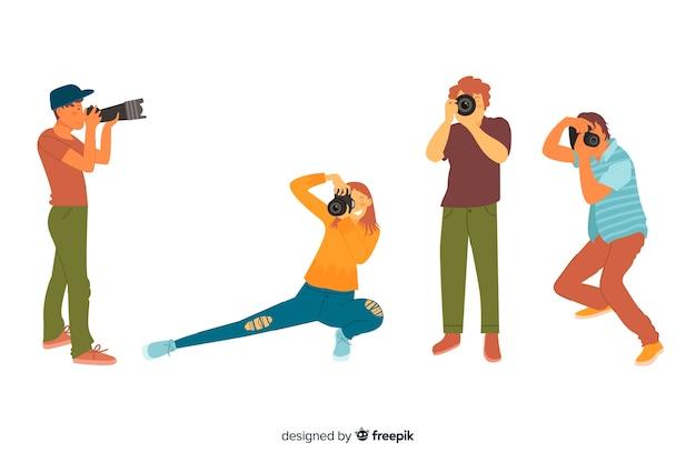 Illustratie met foto's karakters Gratis Vector