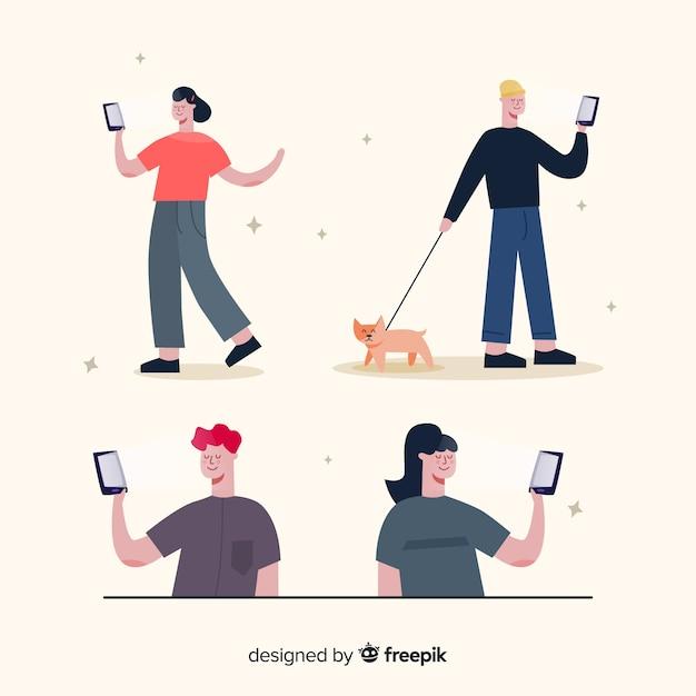 Illustratie met grup van tekens met behulp van telefoons Gratis Vector