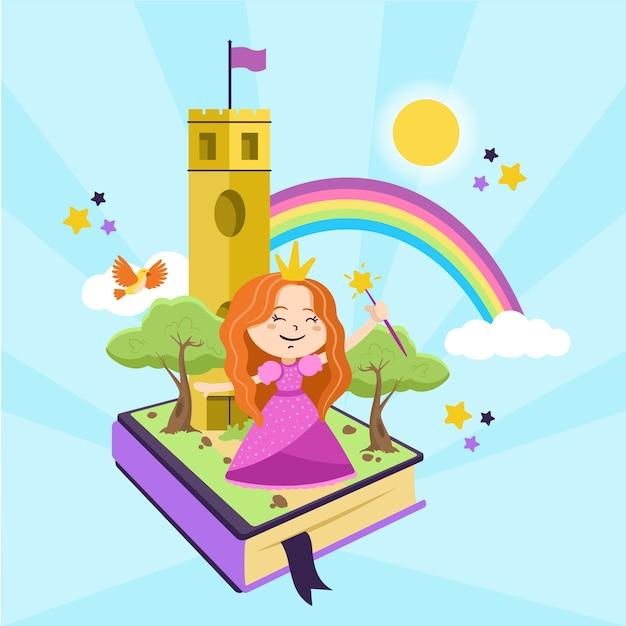 Illustratie met het thema van het sprookjesconcept Gratis Vector