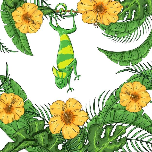 Illustratie met kameleon, hibiscus en planten. exotische jungle Premium Vector