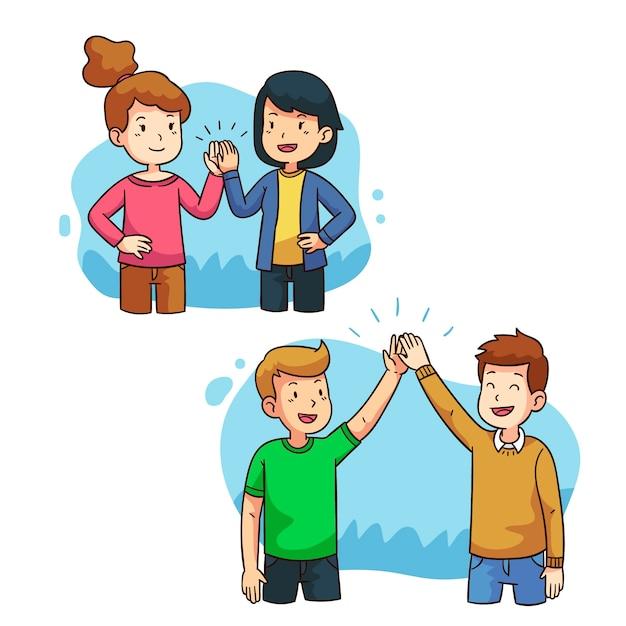 Illustratie met mensen die hoogte vijf geven Gratis Vector