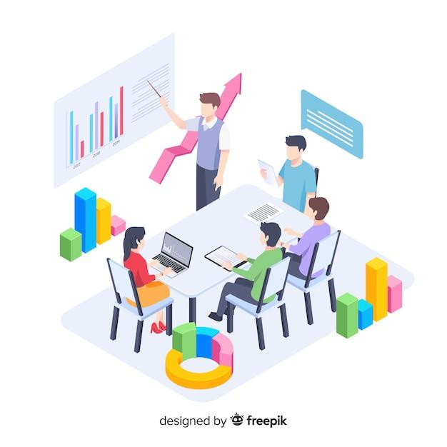 Illustratie met mensen uit het bedrijfsleven in een vergadering Gratis Vector