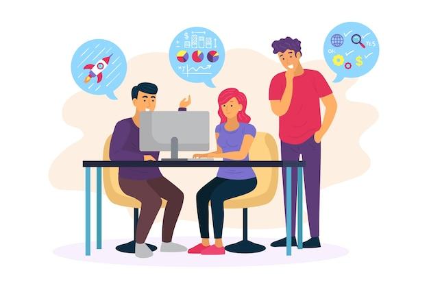 Illustratie met mensen uit het bedrijfsleven ontwerp Gratis Vector