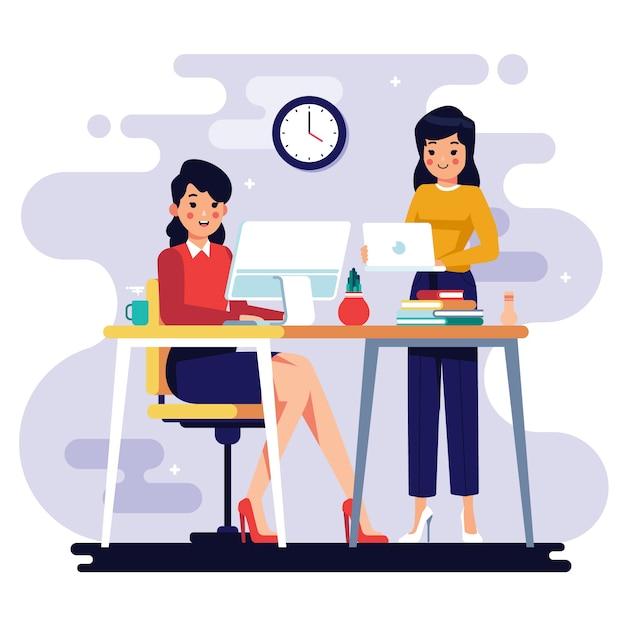Illustratie met mensen uit het bedrijfsleven thema Premium Vector