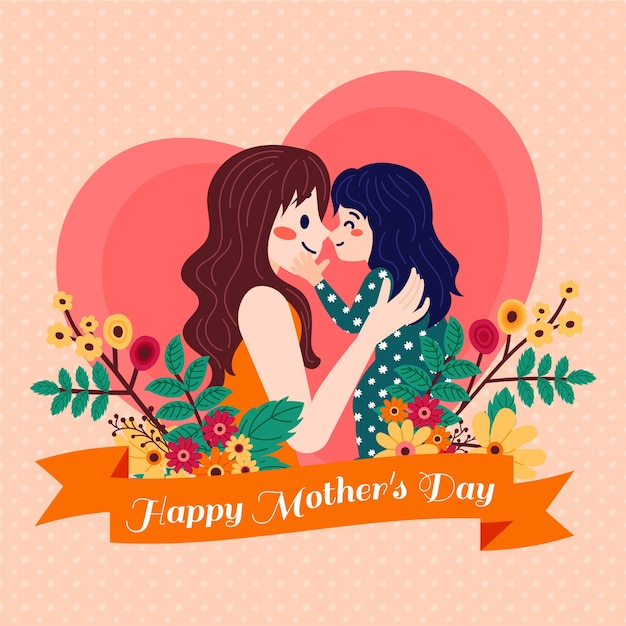 Illustratie met moeders dag concept Gratis Vector