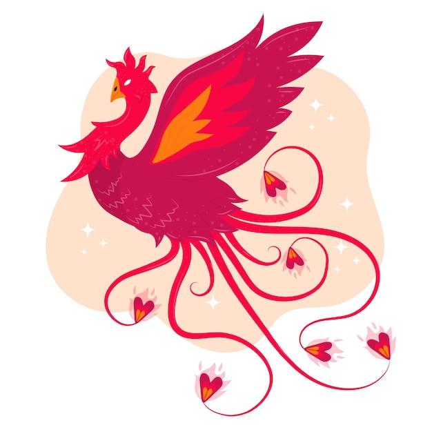 Illustratie met phoenix Gratis Vector