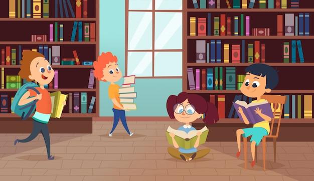 Illustratie met schoolpersonages. vectorafbeeldingen van leerlingen Premium Vector