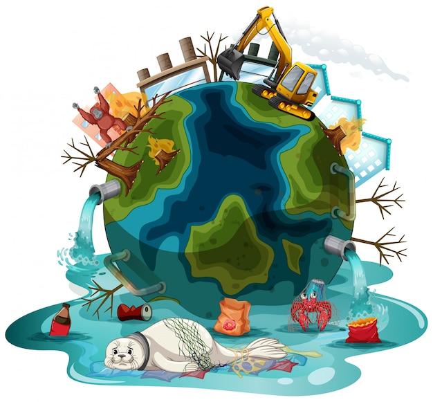 Illustratie met verontreinigingen op aarde Gratis Vector