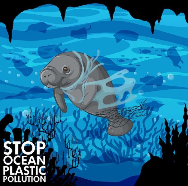Illustratie met zeekoe en plastic zakken onderwater Gratis Vector