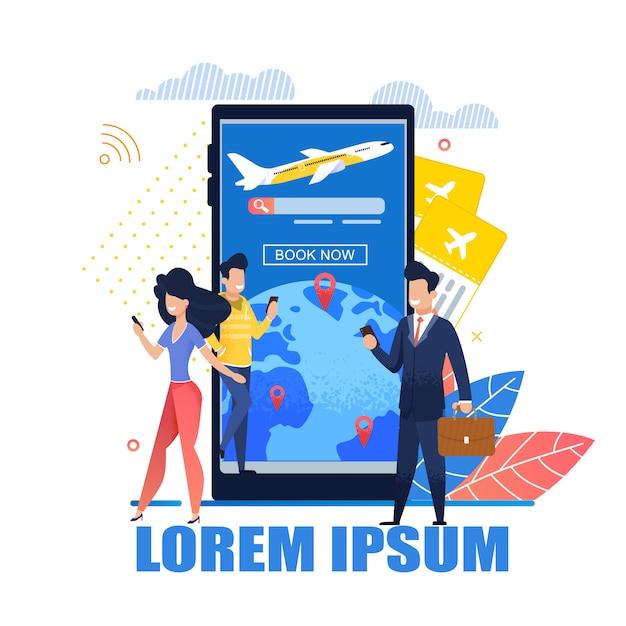 Illustratie mobiele applicatietickets online Premium Vector