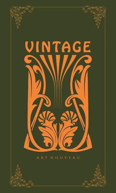 Illustratie ornament snijdende art nouveau stijl vintage Premium Vector