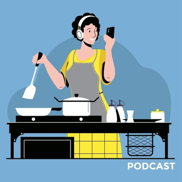 Illustratie over podcasting. mensen luisteren naar audio in een koptelefoon Premium Vector