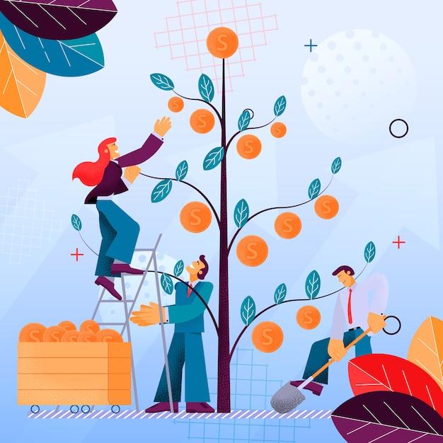 Illustratie picking fruit financiële investering Premium Vector