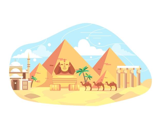 Illustratie reizen en mijlpaal egypte Premium Vector