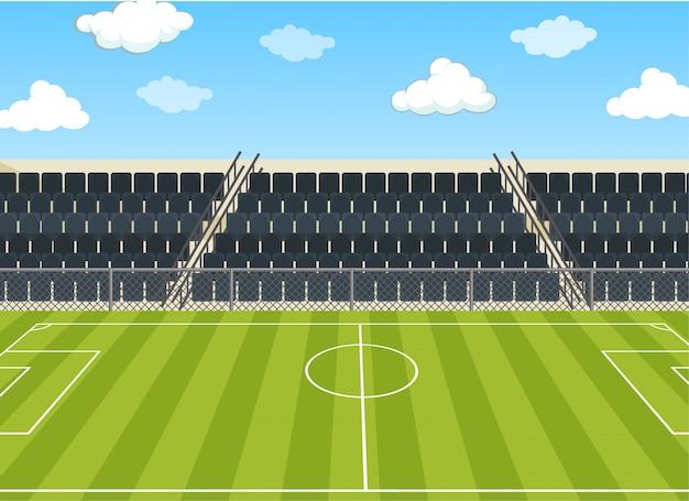 Illustratie scène met voetbalveld en stadion Gratis Vector