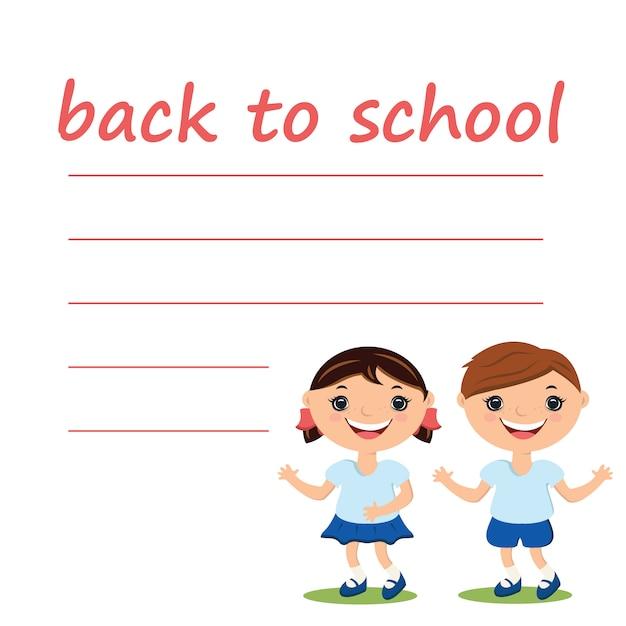 Illustratie schattige jongen en meisje met lege terug naar school Premium Vector